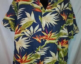 """BIG SUMMER SALE 90s Vintage Aloha Big Mans-Nautica Shirt-Hawaiian-Rayon-Hawaii Cruise Luau Resort Beach-2X-52"""" Chest"""