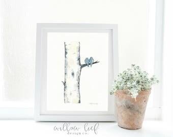 Blue Gray Birch Tree Love No. 3,  Love Birds , Romance , watercolor printable, Archival, wall art