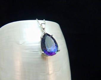 Mystic Topaz Sterling Silver Pendant Necklace