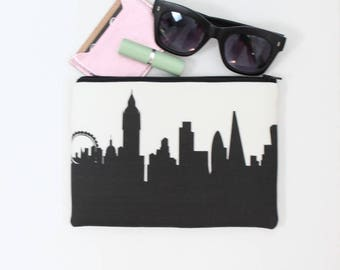 LONDON ENGLAND Skyline Wristlet Clutch. Skyline Wristlet. Skyline Clutch. Twill Clutch. Skyline Silhouette Purse. Gifts for Her.