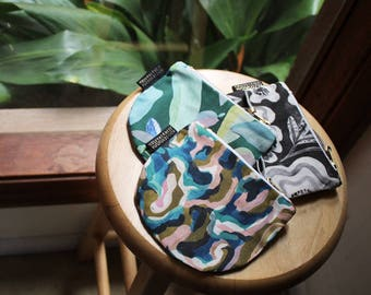 Cotton Linen Canvas Dumpling Coin Purse with Rugged Earth Abstract Textile Design