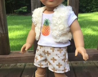 American Girl Doll inspired clothing/18- inch doll clothes/shorts/fur vest/pineapple tee/doll outifit/casual wear/t-shirt; pineapple outfit