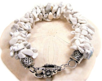 White with Shades of Gray Coral Shell Chips Kumihimo Beaded Bracelet,  beach wear, resort wear, etsy shop