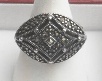 Vintage 1960's Mid Century Ring Sterling Silver Marcasite Diamond Shape Fine Jewelry Statement Mad Men Ring Gift For Her on Etsy