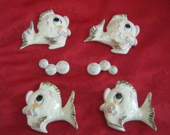 Vintage Set of 6 Fish and Bubbles Wall Hangings