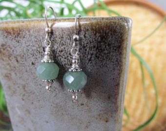 Faceted Light Green Aventurine, Sterling Silver and Lead Free Pewter Earrings