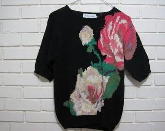 Vtg black Raime sweater with roses size M