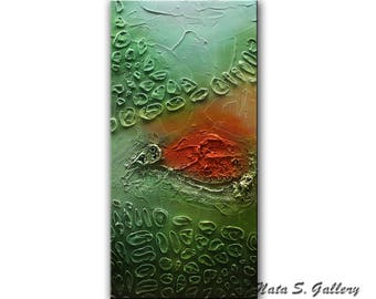 Original Abstract Painting, Turquoise Green Orange Painting, Heavy Textured Art, Mixed Media Acrylic Painting, Wall Decoration  by Nata S.