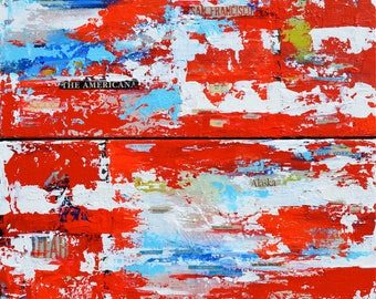 """US Flag Contemporary Americana - US Abstract Mixed Media - Giclee from Original Acrylic Impasto Painting - Diptych 24"""" x 24"""" Painting"""