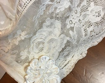 9 - 12 mo. Ivory Dotted Swiss and Lace Netting Baby Bonnet.