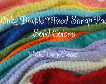 Minky fabric Scraps - minky destash - large minky scraps - minky pieces - minky dimple scraps - minky scrap lot - minky scrap bundle