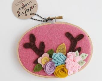 Boho Deer Antlers / Nursery Wall Art / Embroidery Hoop Art / Gift for Baby / Gifts Under 50 / Felt Hoop Art / Bohemian Decor