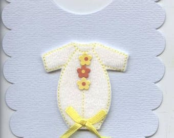 Baby bib shaped card with babygrow design