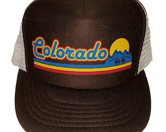 Brown Colorado Sunset Mountains  Snapback Mesh Trucker Hat Cap