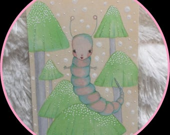 Original art Atc aceo quirky caterpillar Alice fantasy art