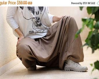 ON SALE Unisex Yoga Harem Pants, Afghani pants, Linen harem pants, Men/Women Drop Crotch pants, Mens yoga pants, yoga clothe