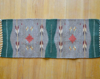 Antique Chimayo Runner Made in Mexico Deadstock Rug Handmade Green & Brown Wool Woven Throw 3.5 x  1 1/4 ft