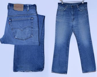 Vintage Levis 517 Black Bar Perfectly Distressed Indigo Denim Blue Jeans 38 x 31.5