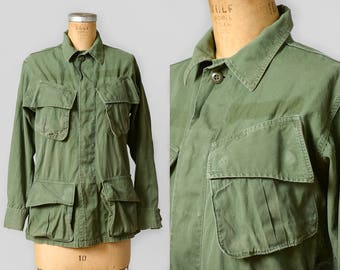 1960s Military Hippie Jacket USMC Vietnam Era Slant Pocket Combat Tropical Mens Coat