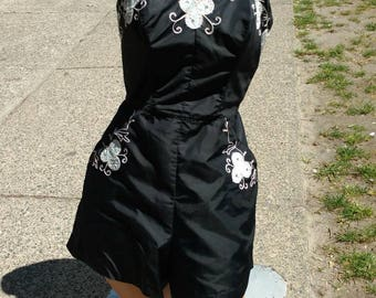 Deadstock 1950s Black Taffeta Sunsuit With Floral Embellishments