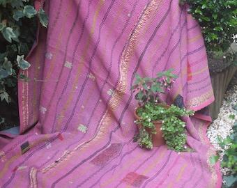 Pink vintage kantha quilt, Kantha throw, Sari blanket, Denim blue kantha quilt, Yellow Sari throw, Kantha blanket,Boho throw