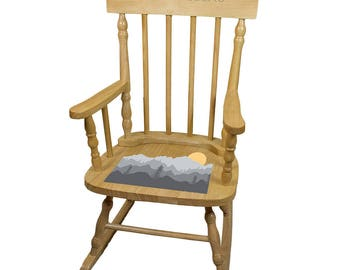 Personalized Natural Childrens Rocking Chair with Misty Mountain Design-spin-nat-245