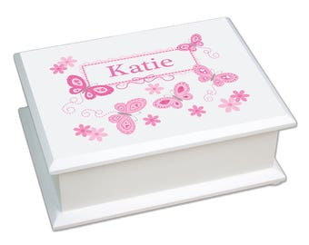 Personalized Lift Top Jewelry Box with Pink Butterflies Design-jeweb-300a