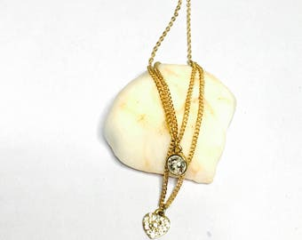 Vintage clear CZ double Pendant & Necklace, Gold tone, Clearance SALE, Item No. B332