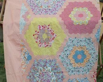 Vintage quilt top, unfinished quilt, quilt blocks, quilt supplies,