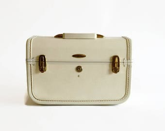 vintage white train makeup case 1960s off white wedding luggage