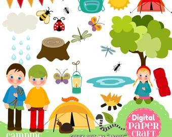 Camping Clipart, Children Clipart, Kids Clipart, Summer clipart, Outdoor clipart, Clipart, Handrawn Clipart, Bug clipart, Nature Clipart