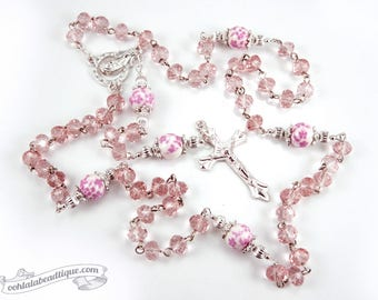 Pink crystal Rosary confirmation gift catholic rosary girls rosaries pink rosary communion rosaries baptism rosary ladies rosaries flower