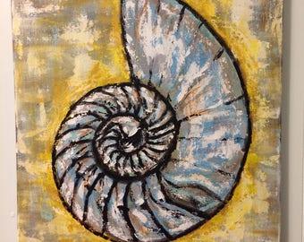SALE Nautilus Painting - Seashell Sealife