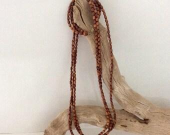 Hawaiian Necklace - Koa Beads - handmade - Wooden Bead Lei - Rice Beads - Wedding Lei - 1970s - 30 1/2 inches long