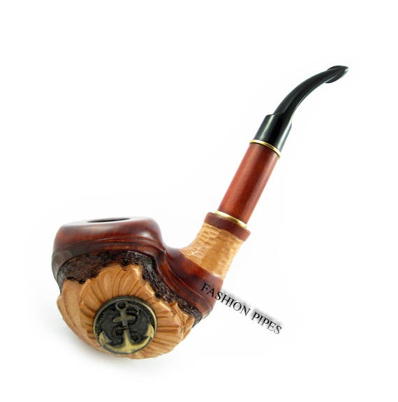 Carved Tobacco Pipe Smoking Pipe Metal Anchor 7 Inches