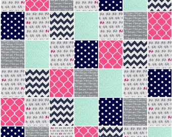 Mint Pink Crib Bedding, Elephant Crib Bedding for Girls, Navy and Pink Bedding, Elephant Baby Quilt, Chevron Bedding, Elephant Baby Gift