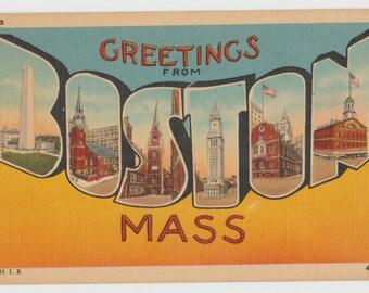 Linen Postcard Greetings from Boston, Massachusetts, Large Letter, ca 1945