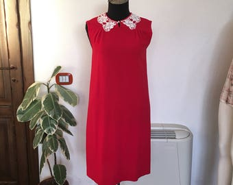 Vintage wool crepe tailored red dress 60s