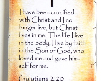 Galatians 2:20 Bible Verse Fridge Magnet (2 x 3 inches)