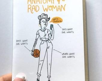 Anatomy of a Rad Woman (Yellow) - Vertical 8x10 print, feminist, girl