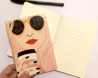 Keep Portland Weird (Pink) | Journal | Notebook | Hipster Girl | Christa Pierce