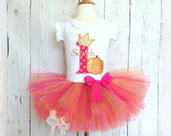 Pumpkin birthday outfit - 1st birthday pumpkin tutu outfit - pumpkin princess tutu outfit - first birthday Halloween or Thanksgiving outfit
