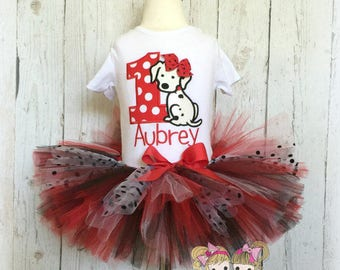 Dalmatian birthday outfit - 1st birthday dalmatian tutu outfit - 1st birthday outfit - red and black dalmatian outfit - girls birthday tutu