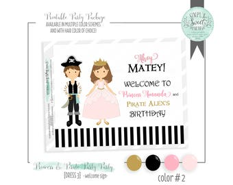 Princess and Pirate Birthday Party Printable PDF Welcome Door Sign. 6 colors options and hair of choice!
