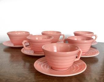 Vintage Pink Teacup Set Havel Atlas Modernite Platonite Pink Milk Glass Teacup and Saucer Set Retro Kitchen 1940's Pastel Pink Wedding Decor