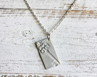 Ceramic Pendant, Antique Key, Unique Gift, Skeleton Key, Gift Ideas, Gift for Her, Ceramics, Ceramic Jewelry