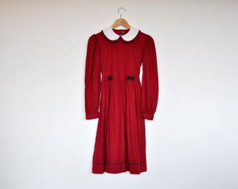 Vintage Red Peter Pan Collar Long Sleeve Girl's Maxi Dress 13-14 Years