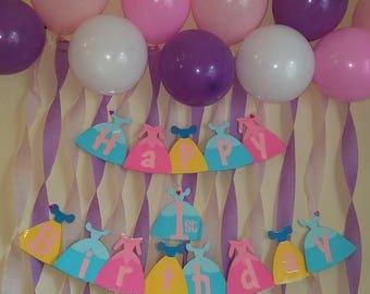 Disney princess happy birthday banner- Cinderella, Snow White, and Sleeping Beauty dresses
