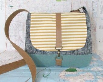 San Fransisco- Crossbody messenger bag - Crossover - Adjustable strap - Vegan purse - Travel bag-Yellow stripes-Nautical-Blue- Ready to ship