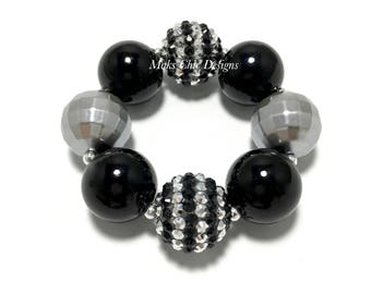 Toddler or Girls Black and Silver Chunky Bracelet - Black striped Bling Chunky Bracelet - Princess Chunky Bracelet - Monochrome Bracelet